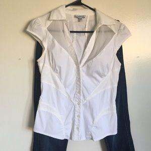 Bebe white button up blouse